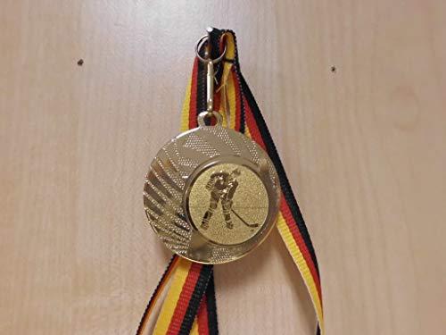 Fanshop Lünen 20 Stück Medaillen - aus Stahl 40mm - mit einem Emblem, Eishockey - Logo - inkl. Medaillen Band - Farbe: Gold - mit Alu Emblem 25mm - (e262) -