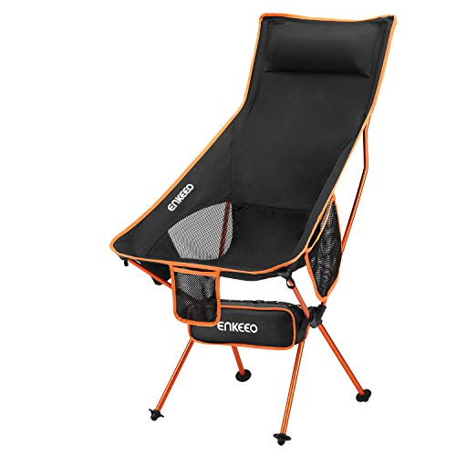 ENKEEO Camping Folding Chair Portable Lightweight Mesh Seat with 330 lbs Capacity, Built-in Pillow,...