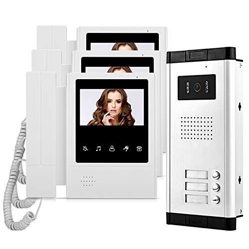 HFeng 4.3 '' Video Intercom System 3 Apartamentos con 700TVL Timbre de Puerta de cámara, Visión Nocturna, 3 Monitores