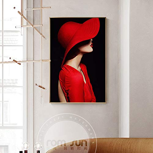 tzxdbh Abstract geheim hoed meisje met rode lippen canvas schilderij artistieke moderne affiche print voor woonkamer meisjes mode-schilderij 30x30cm No Frame style 2