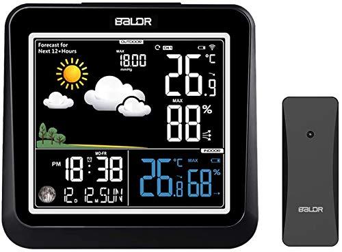 FLYLAND Wetterstation Funk mit Außensensor, Digital Thermometer Hygrometer Digital Wettervorhersage Barometer Mondphasen Wecker Uhrzeit und Hintergrundbeleuchtung für innen und außen