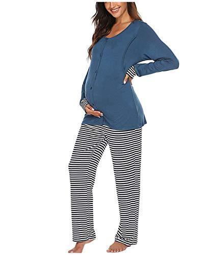 Pijama de Lactancia Invierno Ropa Premamá Embarazadas Algodón Mangas Largas (Azul,XL)