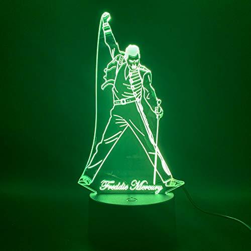 British Singer Freddie Mercury 3D Led Night Light Lamp Night Light Figure for Office Home Decoration Best Fans Gift