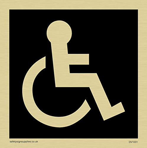 Viking Signs DV1031-S85-G funktionshindrade toalettsymbol – toalettdörrskylt, negativ svart text, plast halvstyv guld, 85 mm H x 85 mm B