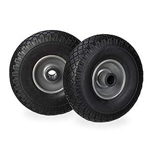 Relaxdays Set de dos ruedas de carretilla, Neumático de goma 3.00-4, Eje de 25mm, Hasta 100 kg, Negro-gris