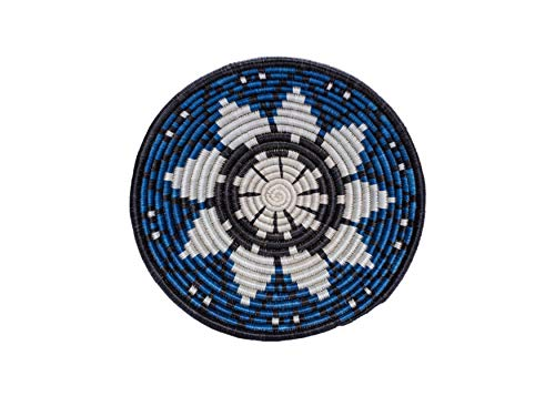 All Across Africa Expressions Collection - Medium Hanging Woven Wall Basket Decor, Decorative Serving or Fruit Basket, Food Safe, Handmade African Bowl (Blue)