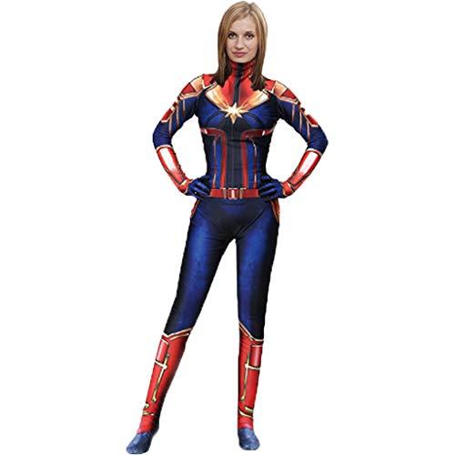 QWEASZER Marvel Avengers Film Captain Marvel Body Spandex Overalls Captain Marvel Kostüm Damen Weihnachten Halloween Show Cosplay Kostüme,Blue-160~165cm