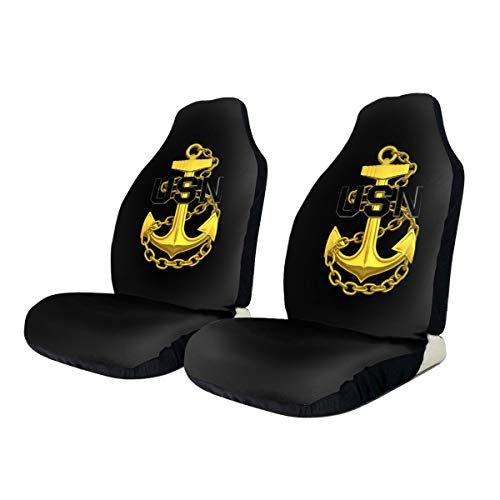 US Navy Master Chief Petty Officer Anchor Car Seat Cover Protector Cushion Premium Covers for Women, Men, Girls, Boys Fits Most Cars, Truck, SUV Or Van