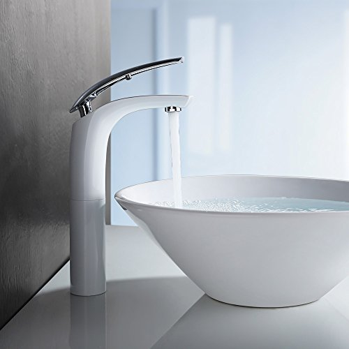 Homelody - Design-Waschtischarmatur, Einhebelarmatur, ohne Ablaufgarnitur, hoher Auslauf, Weiß-Chrom
