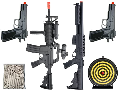 Airsoft Gun Bundle Starter Kit Airsoft Spring Power 2 Airsoft Rifle Shotgun 2 Airsoft Pistol with Target 5000 Bulldog Airsoft BBS 6mm
