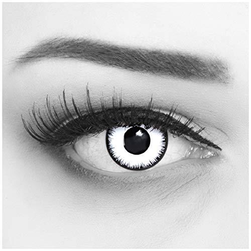 Farbige Kontaktlinsen 1 Paar weisse schwarze Lunatic Vampir mit schwarzem Rand 1 Paar. Topqualität zu Halloween, Fasching, Fastnacht, Karneval Halloween gratis Kontaktlinsenbehälter ohne Stärke - 2