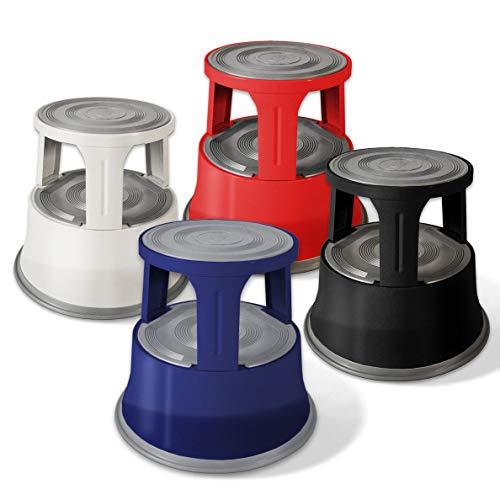 Sgabello con Ruote a Scomparsa - Scalino, Scaletta Design in Metallo con Base Antiscivolo in Gomma - capacità di carico 150 kg, in 4 Colori - Blu