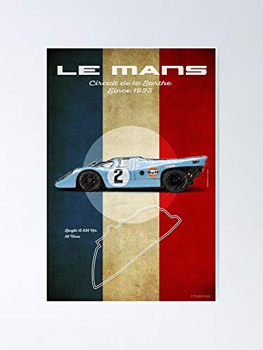 guyfam Le Mans Racetrack Vin-Tage Poster 12x16 Inch No Frame Board for Office Decor, Best Gift Dad Mom Grandmother and Your Friends