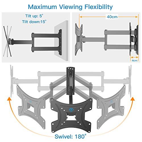Support Mural TV, Inclinable et Orientable Support TV pour écrans 13-42 Pouces jusqu'à 35Kg, avec Niveau à Bulle -VESA 200 x 200 mm
