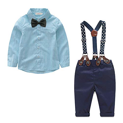Baby Boy Dress Clothes Toddler Outfits Infant Tuxedo Formal Suits Set Top+Bow Tie+Suspender Pants (Sky Blue, 12-18 Months)