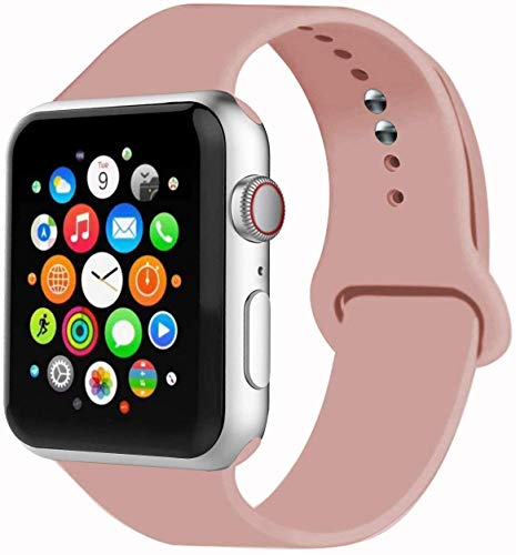VIKATech Correa de Repuesto Compatible con Apple Watch de 40 mm 38 mm, Correa de Silicona Suave de Repuesto para iWatch Series 5/4/3/2/1, S/M, Vintage Rose