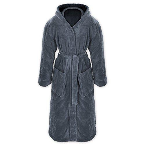 Gräfenstayn® Damen & Herren Kuschelfleece Bademantel mit Kapuze Größe S-XXXL Öko-Tex Standard 100 Flanell Fleece (M, Anthrazit)