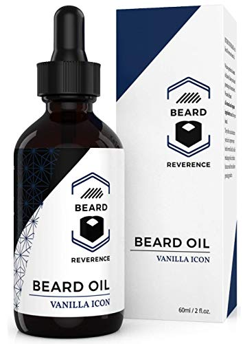 Vanilla Beard Oil – All Natural Leave In Conditioner enhanced with Organic Argan & Jojoba Oils – Large 2oz Size – Softens, Strengthens, & Hydrates for Healthy Beards and Mustaches