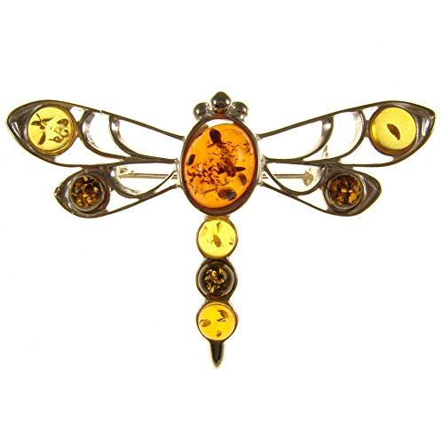 SA Brooches Baltic Amber and Sterling Silver 925 Multi-Coloured Dragonfly Brooch pin Jewellery Jewelry