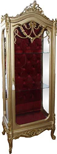 Casa Padrino Barock Vitrine Gold/Bordeaux H 200 cm, B 68 cm - Vitrinenschrank - Wohnzimmerschrank Glasvitrine - Antik Look