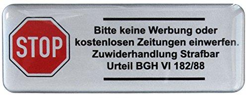 3D Briefkasten Aufkleber Silber - 402002 - Groß