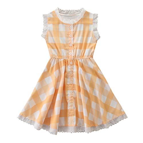 Transer Robe fille bébé Enfant Robe sans Manches à Carreaux à Carreaux en Dentelle pour Les Filles de 2 à 7 Ans