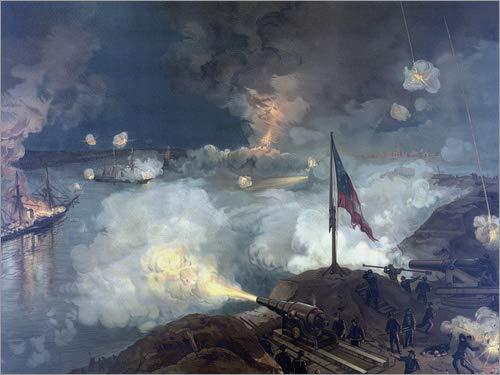 Tableau en Bois 70 x 50 cm: Vintage Civil War Painting Featuring The Battle of Port Hudson. de John Parrot/Stocktrek Images