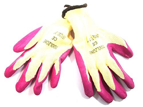 Toolzone Donne 7 ' extra Piccolo Lattice Dipped Giardinaggio Guanti da Lavoro Rosa Gl037