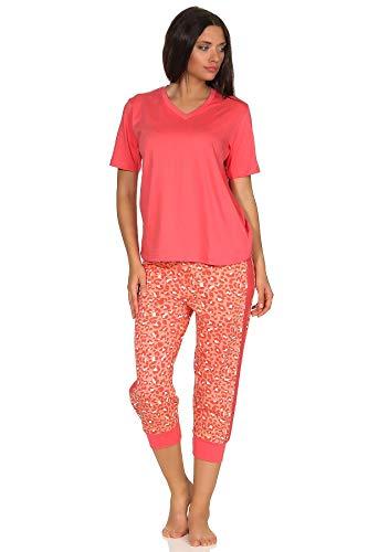 Dames Capri-pyjama's korte mouwen, Capri-broek met zijstrepen op het been en leo-patroon