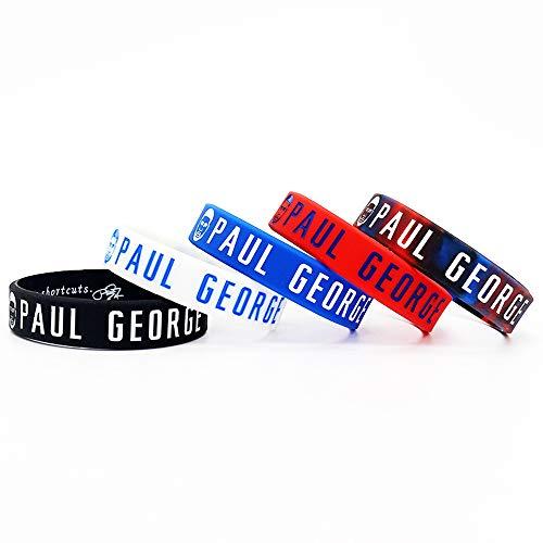 Lorh's store Basket Paul George Ritratto Braccialetto Numero 13 Silicone Parola Inspirational Sport Wristband 5 Pezzi