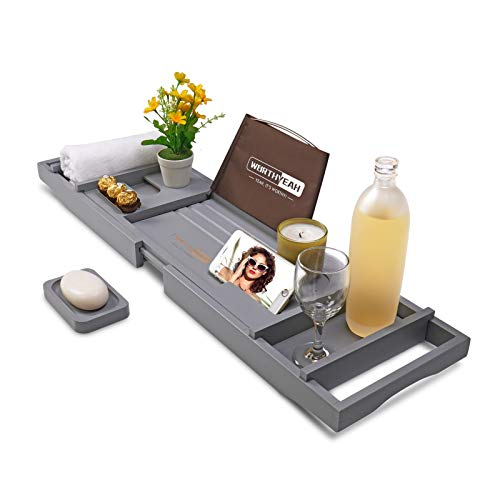 WORTHYEAH Bathtub Caddy Tray, Bamboo Adjustable Organizer Tray for Bathroom with Free Soap, Large Bathtub Table Holds Book, Wine, Snack, Phone, Wooden Tub Rack for Luxury Spa (Grey)