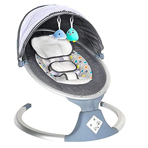 Baby Rocker Bouncer, Bluetooth Ingeschakeld Lichtgewicht Baby Swing met 5 snelheden en afstandsbediening  Comfort babyweek met afneembare tent, grijs WDH666 (Color : Gray)