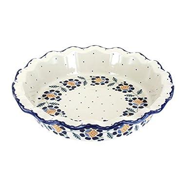 Blue Rose Polish Pottery Sunflower Pie Plate