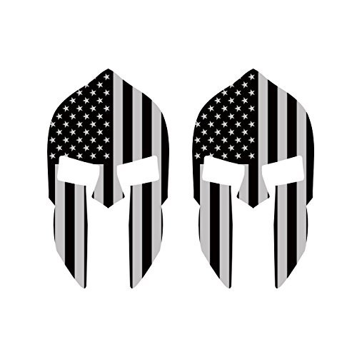 Two Pack 5 Inch Subdued American Flag Spartan Helmet Stickers Vinyl Decal Sticker Made in USA