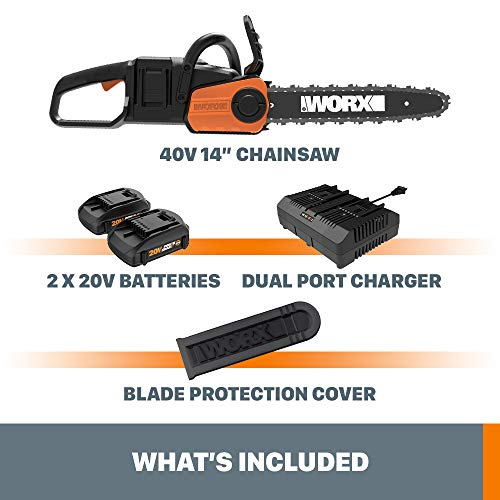 Worx WG384 40V Power Share Cordless 14-inch Chainsaw w/ Auto-Tension (2x20V Batteries)