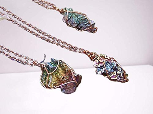rainbow bismuth crystal wire wrapped in pure copper pendant necklace with adjustable leather chord...