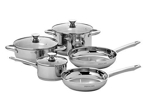 YANXUAN Juego de utensilios de cocina de acero inoxidable de 8 piezas con tapas de cristal, apto para lavavajillas, apto para horno