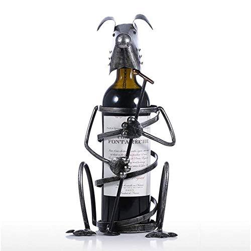 YIBOKANG Decoraciones Sencillas y Creativas Arte Craft Home Sala de Estar Perro Estante de Vino Hierro Forjado Pantalla de Vino Metal