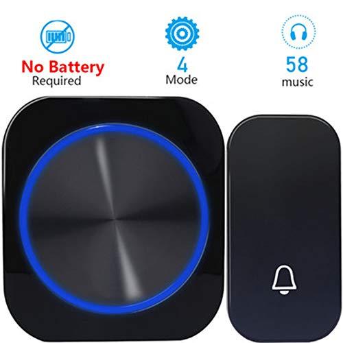 Smart draadloze deurbel, self-powered waterdichte draadloze deurbel zonder batterij 's nachts licht 4 modi waterdicht 1 toets 1 ontvanger