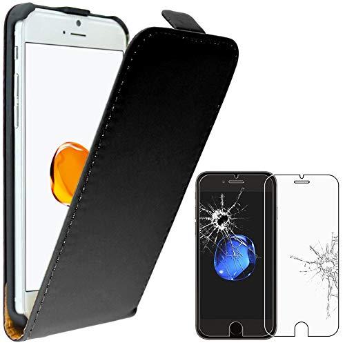 ebestStar - Cover Compatibile con iPhone 7, iPhone 8 Custodia Protezione Pelle PU Risvolto Verticale, Nero + Pellicola Vetro Temperato [Apparecchio: 138.3/138.4 x 67.1/67.3 x 7.1/7.3mm, 4.7'']