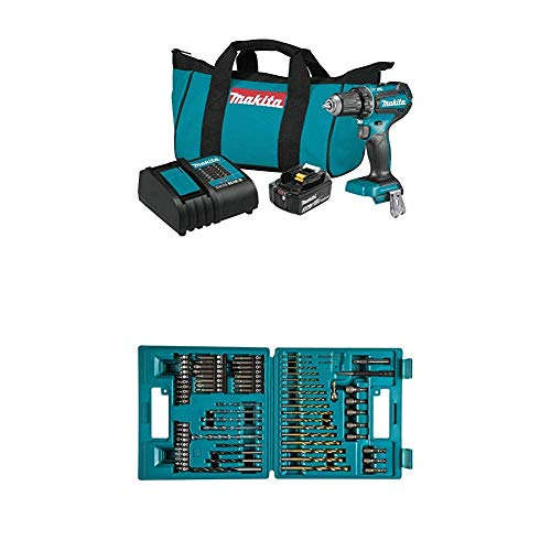 Makita XFD131 18V LXT Lithium-Ion Brushless Cordless 1/2 In. Driver-Drill Kit (3.0Ah) and B-49373 75 PC Metric Drill and Screw Bit Set