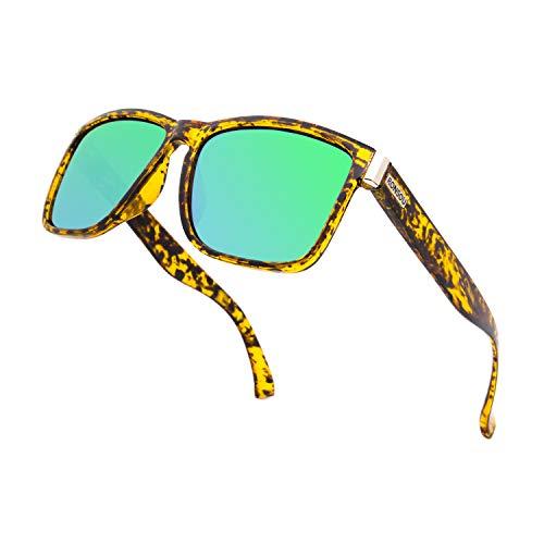 RONSOU Gafas de Sol Polarizadas Hombre Mujer Cuadradas Retro Clásico Elegante Gafas UV400 Protección ámbar Marco Verde Lente