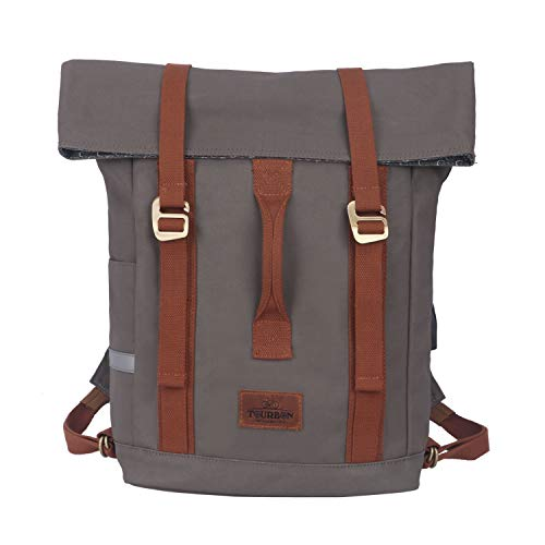 Tourbon Water-resistant Canvas Laptop Bag Bike Messenger Pannier Backpack Shoulder Briefcase (For 16' Laptop)
