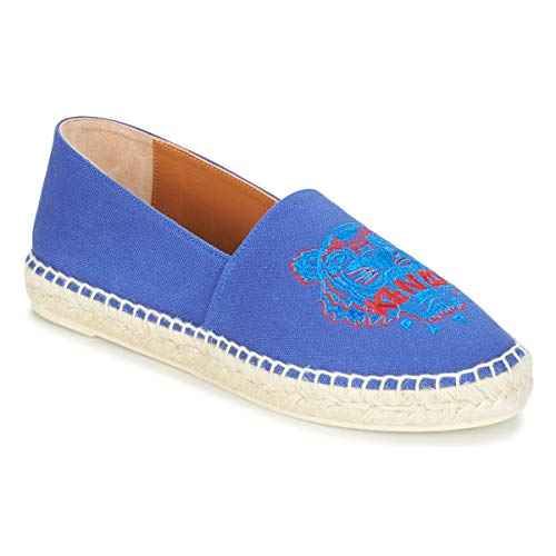 Kenzo Classic Espadrilles Stoffpantoletten/Espandrillos Damen Blau - 36 - Leinen-Pantoletten Mit Gefloch Shoes