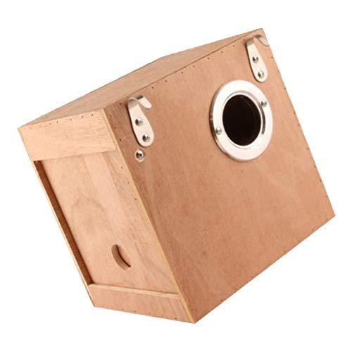 PETSOLA Vogelnest Holz Brutkasten Nistkasten für Vögel, Hölzerne Vogel Vogelhaus Wellensittich Kanarienvogel Zucht Box Schachteln Feeding Station - S