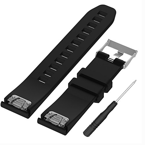 WEINISITE 22 mm Silicone Ajustable Remplaçant Bracelet pour Garmin Fenix 5/ Approach S60 Golf/for Garmin Forerunner 935/ Quatix 5 GPS Watch (Noir)