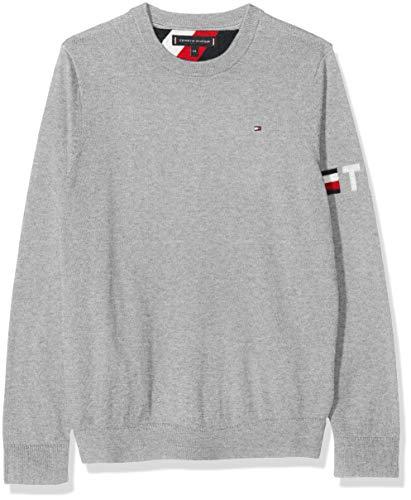 Tommy Hilfiger Jungen Essential CTTN/Cashmere Sweater Sweatshirt, Grau (Grey Pz2), (Herstellergröße:92)
