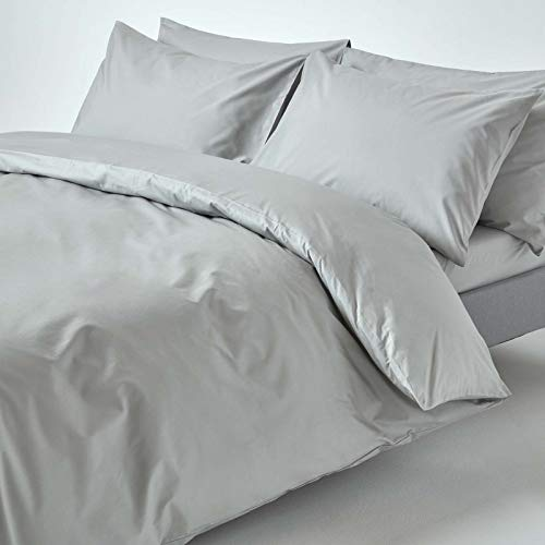 HOMESCAPES Silver Grey Pure Egyptian Cotton Duvet Cover Set Double 200 TC 400 Thread Count Equivalent 2 Pillowcases Included Quilt Cover Bedding Set