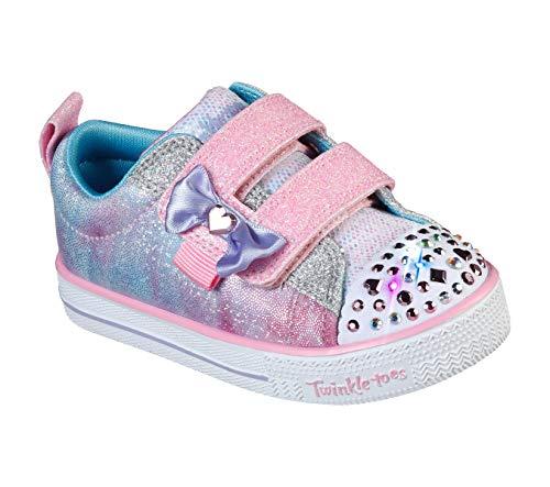 Skechers Kids Girls' Shuffle Lites Sneaker, Light Pink/Multi, 8 Medium US Toddler