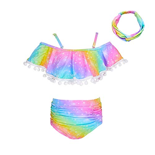 Play Tailor Girls Swimsuit 2 Piece Bathing Suit High Waist Flounce Top Bikini Swimwear with Headband, 2-9Y